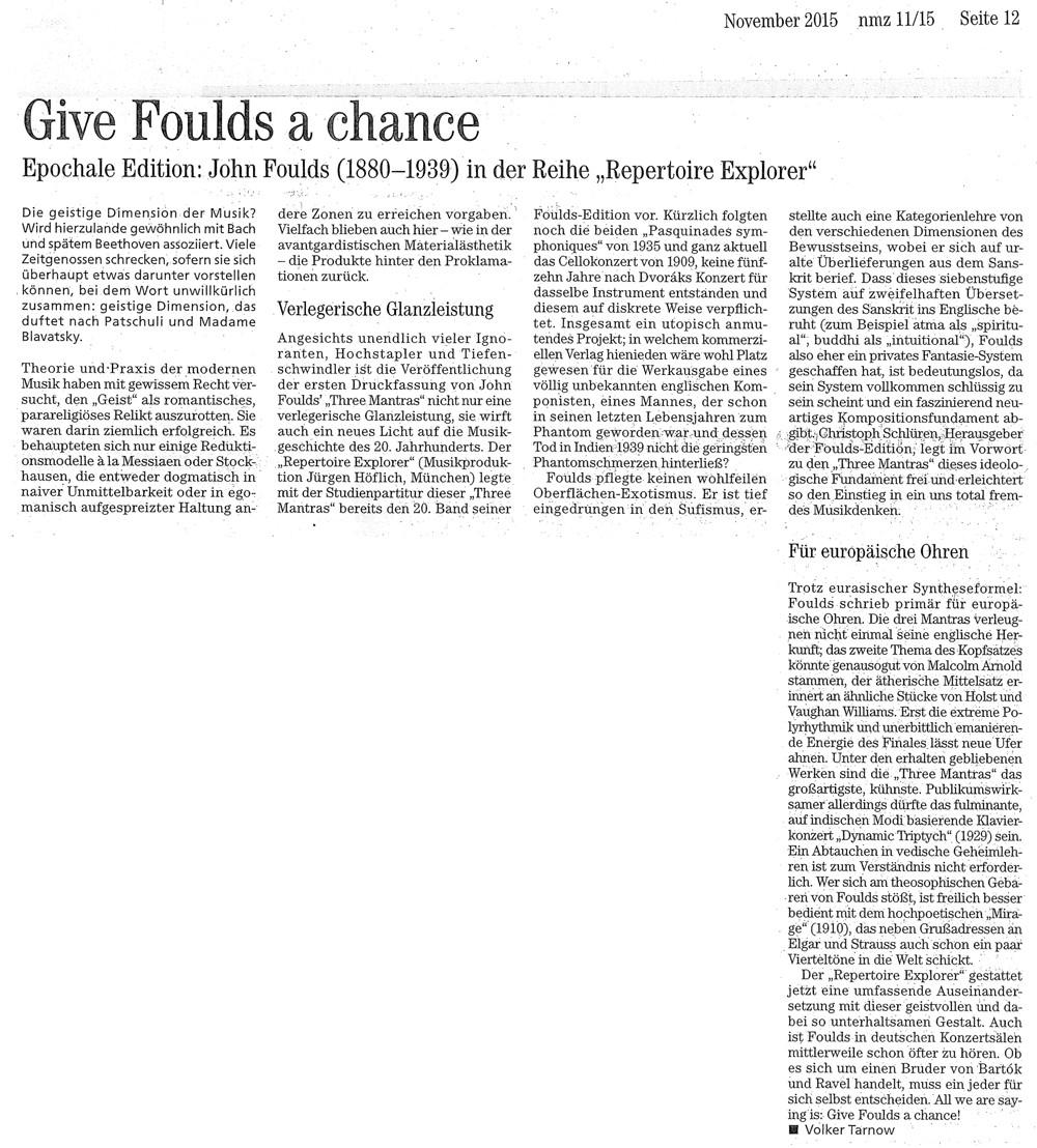 Neue Musikzeitung 11.2015 Foulds Edition Besprechung
