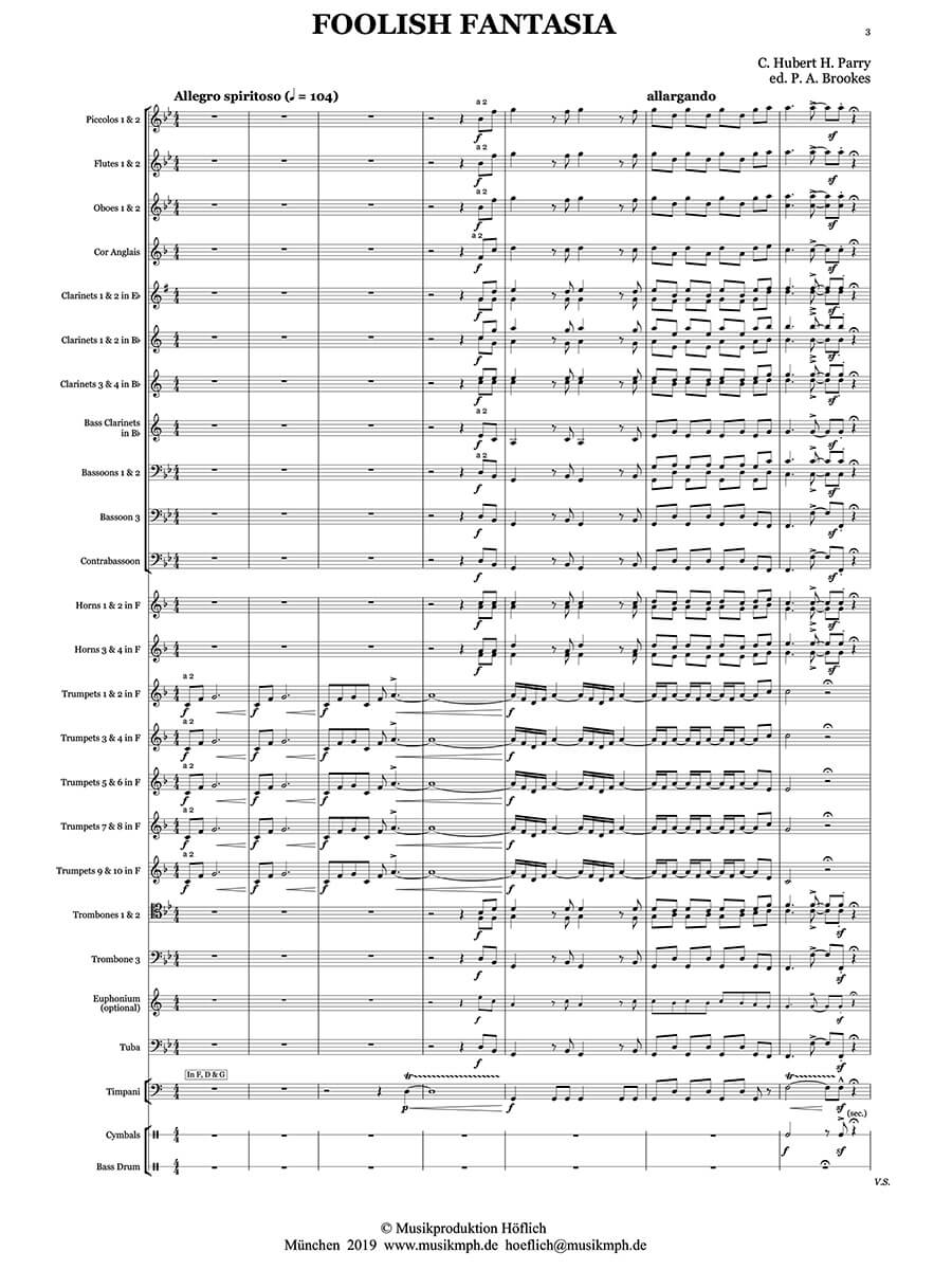 Parry -Foolish Fantasia for wind band