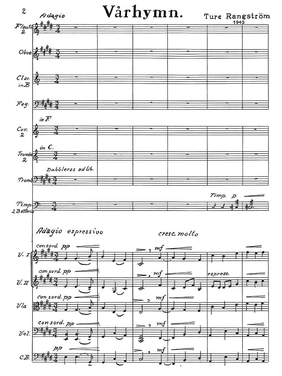 Rangström - Varhymn for orchestra